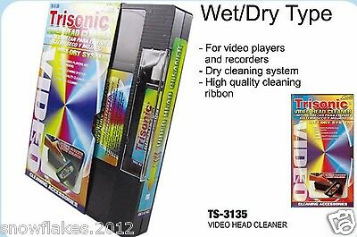 Head Cleaning Video Tape Cassette For VHS VCR Player & Recorder Wet Dry Cleaner  Tape Players Recorders