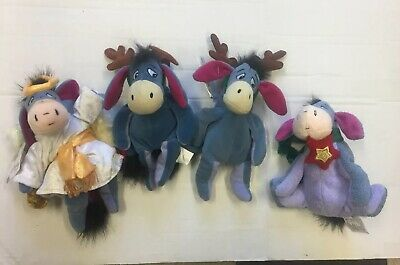 Christmas Disney Store 4 Pc Lot Eeyore Reindeer Angel Tree Topper Beanie Plush