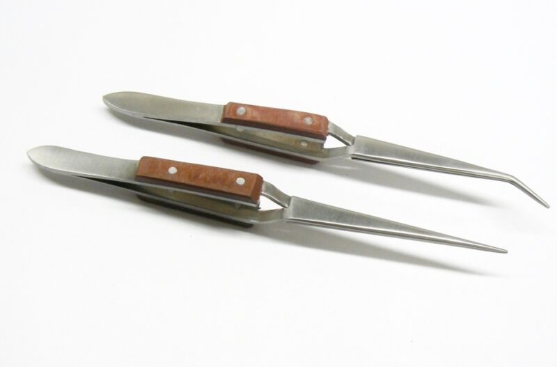 """Cross Lock Tweezers Self Closing Fiber Grip 6-1/2"""" Set of 2  Bent & Straight Tip"""