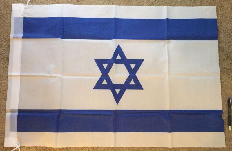 "Israeli Flag Blue & Wh. 24"""" X 35"" Hangable Proudly Support Israel Free Ship"