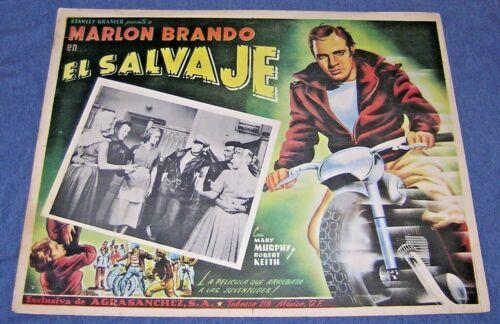 VINTAGE 1950s BIKER ~ THE WILD ONE ~ EL SALVAJE ~ MARLON BRANDO ~MEXICAN POSTER