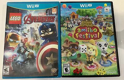 2 X Wii U Games Lot Animal Crossing: Amiibo Festival & LEGO Marvel Avengers Lot