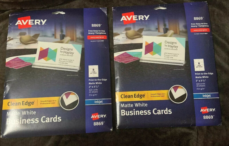 Avery Clean Edge Business Cards Inkjet 2x3 1/2 Matte White 280 Cards Total 8869