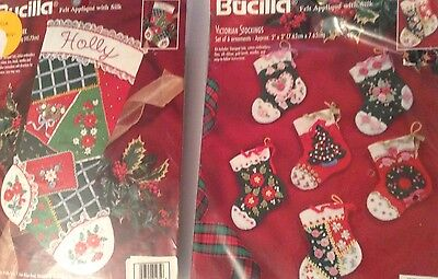 Bucilla Christmas Felt & Ribbons Kit Lot 2: FLORAL PATCHWORK Stocking &Ornaments