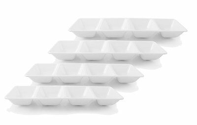 Disposable Plastic Serving Trays (Disposable Hard Plastic 4 Sectional Rectangular Party Serving Tray -)