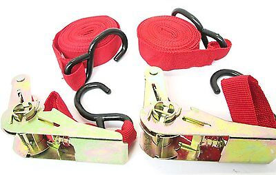 2 Tie Down Straps /Roof Rack Luggage Load Securing Straps with Ratchet Mechanism ()
