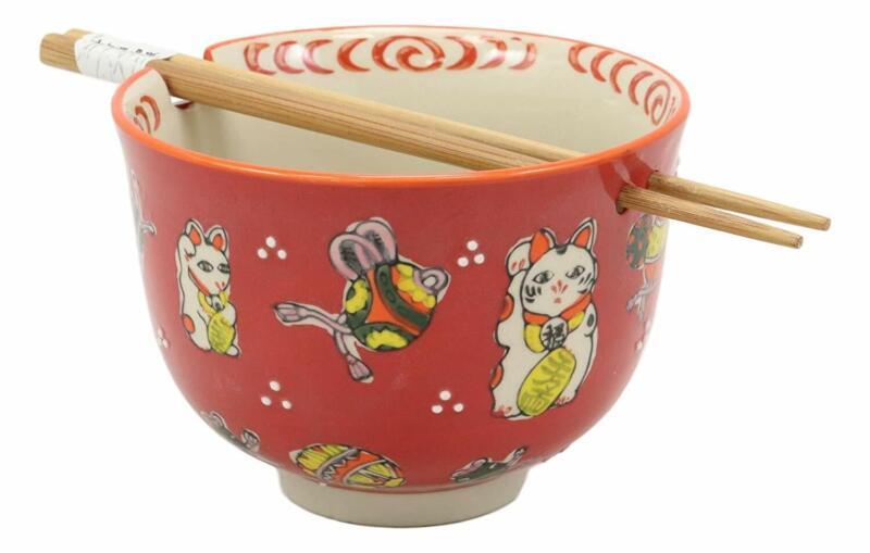 Lucky Cat Japanese Maneki Neko Red Porcelain Ramen Soup Bowl With Chopsticks Set