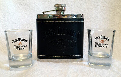 Used, Jack Daniels Old No 7 Leather Stainless Flask + 2 Tennessee Honey Fire Shots Lot for sale  Shipping to Canada