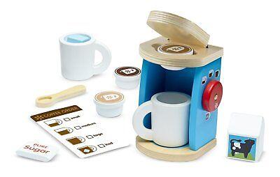 Melissa & Doug 11-Piece Bräuerei und Serve Holz Kaffeemaschine Set Spielzeug ()