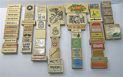 Mixed lot of 55 Wood Mounted Rubber Stamps New & Used