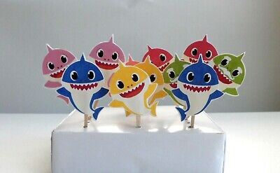 Baby Shark Cupcake topper, Cake Pop, Cake Decor, Party Supplies 12 PIECES - Cake Pops Supplies