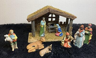 9 Piece Nativity Set Hand Painted Porcelain Mint