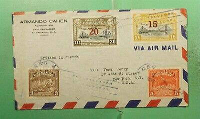 DR WHO 1944 EL SALVADOR OVPT AIRMAIL TO USA  g18190