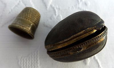 Antique Thimble Egg Cased Hinged Victorian Box Case Holder Sewing Needlework