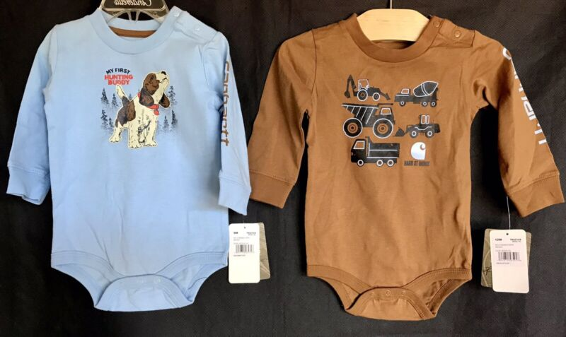 CARHARTT Bodysuits - Brown Tractors & Blue Puppy Tops Baby Boy Size 9-12M  NEW!