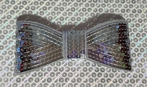 """XL 5"""" Sequin Bow embellishment for boutique crafts GRAY"""