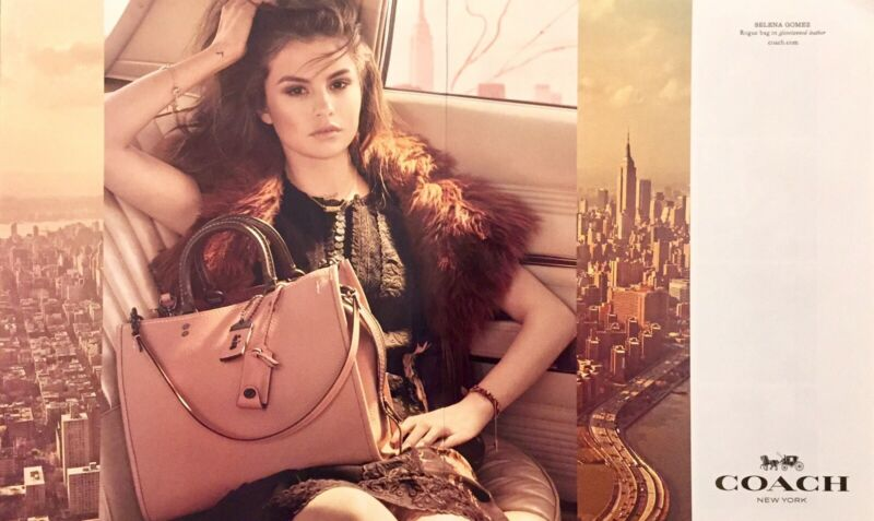 2018 Selena Gomez Coach Fashion Selena Grace Bag Print Ad Large 2 Pgs New Cond