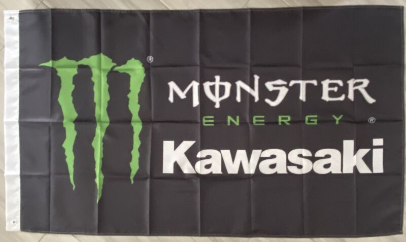 KAWASAKI MONSTER 3x5 ft FLAG BANNER DRAPEAU SNOWMOBILES 4 CAVE GARAGE teryx 1000