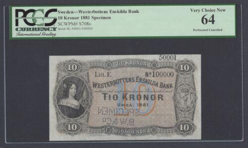 Sweden Westerbottens Enskilda Bank 10 kronor 1881 Ps708s Litt E Specimen UNC