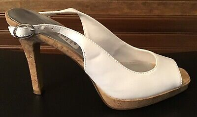 "Fioni White Slingback High Heels Peep Toe 4"" Cork Heel New Size 7M EUR 38.5"