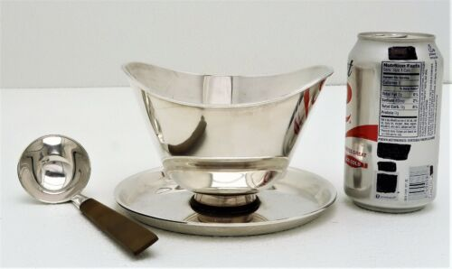 Anton Michelsen Midcentury Modern Sterling Silver Sauce or Gravy Bowl with Ladle