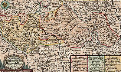 PRIEBUS OBERLAUSITZ Landkarte Schreiber um 1750 - schönes koloriertes Original!
