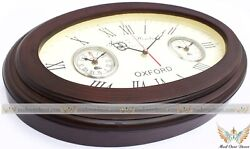 VINTAGE WOODEN HANDCRAFTED OVAL LONDON HONGKONG WORLD TIME WALL DECORATIVE CLOCK