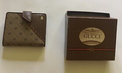 Vintage Gucci GG Monogram Brown Leather Wallet w/ Kisslock Coin Change Purse