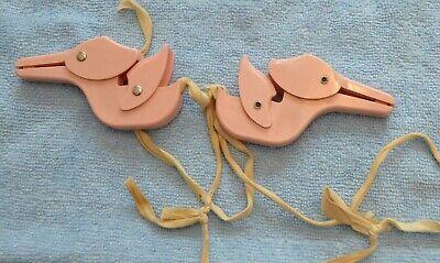Vintage Stork Pink Clips-Sheet & Blanket Fasteners Baby plus plastic stork