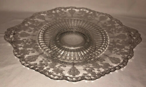 """Cambridge ROSE POINT CRYSTAL * 12"""" FOOTED HANDLED ROUND PLATE  #3500/28"""