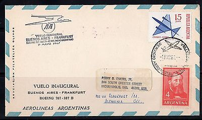 For sale ARGENTINA GERMANY 1969 ARGENTINE AIRLINE FIRST FLIGHT BUENOS AIRES TO FRANKFURT