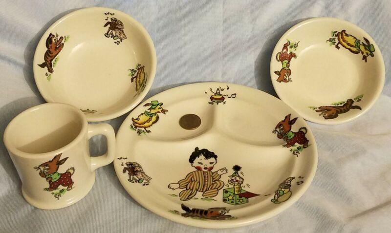 Vintage Mayer China Company Ironstone Toyland Pattern Childrens Dishware Set