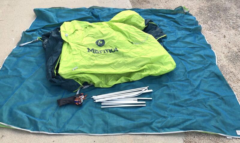 Marmot Mantis 2p Plus Tent Macaw Green Deep Teal W CGear Sand Free Base