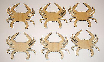 Crab Shape Cut Out Unfinished Wooden Mini Crabs Crafts  6 PCS