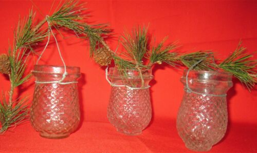 3-ANTIQUE CHRISTMAS CLEAR GLASS CANDLE FAIRY LAMPS/LANTERNS QUILTED PATTERN