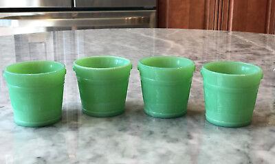 4 Martha Stewart by Mail LE Smith Jadeite Green Glass Faux Bois Oaken Buckets