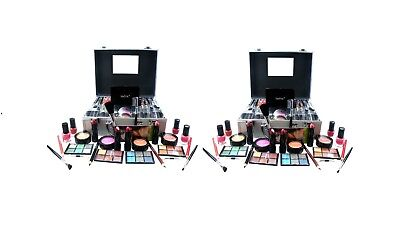 2 x Large Beauty Case W/ Cosmetics Make Up Girls Party Event Xmas Gift Set