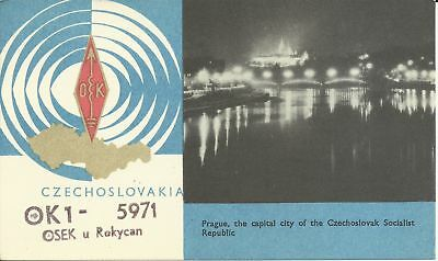 OLD VINTAGE OK1-5971 ROKYCAN CZECHOSLOVAKIA AMATEUR RADIO QSL CARD