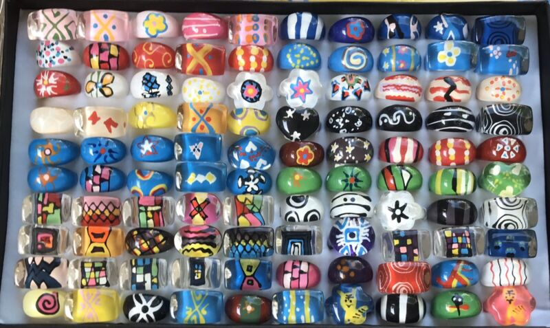 100 Vintage Mod Art Lucite Rings Warehouse Find Wholesale Lot Jewelry