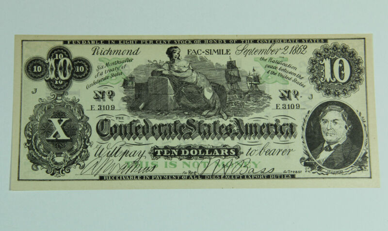 Confederate Currency Facsimile Advertising Clothing Galesburg Illinois P-003