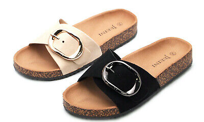 Beach Slip On (Womens Flat Slip On Mule Summer Sandals Ladies Casual Beach Sliders Shoes Size)