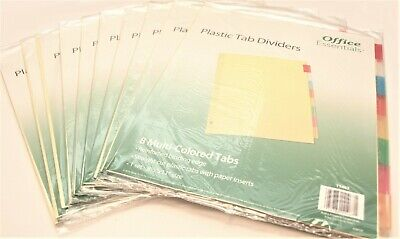 Lot Of 10 Office Essentials 3-ring Binder Index Dividers W 8 Multicolored Tabs