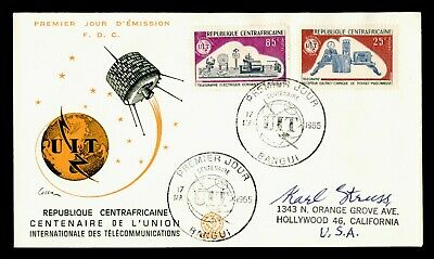 DR WHO 1965 CENTRAL AFRICAN REPUBLIC FDC ITU CENTENARY SPACE COMBO  g18741