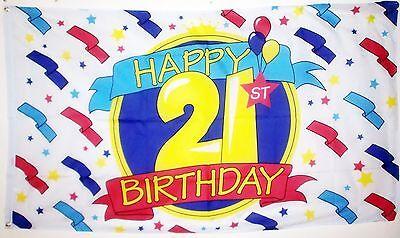 HAPPY 21st BIRTHDAY FLAG 5X3 FEET TWENTY ONE 21 Party celebration coming of age