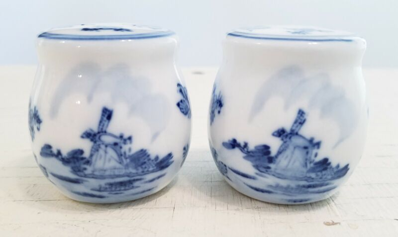 Delft Salt and Pepper Shakers Blue White Windmill Scene
