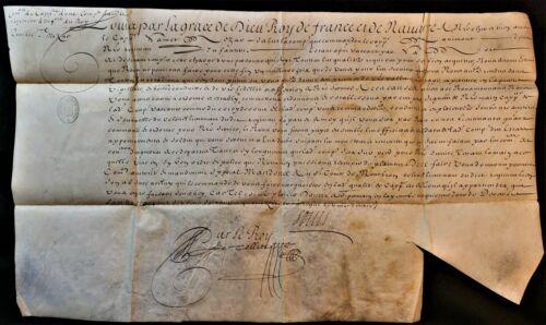 KING LOUIS XIV SIGNED COMMISSION OF INFRANTRY CAPTAIN 1674 König von Frankreich