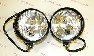 12v Black Head Light Pair For John Deere Case Ih Allis White Oliver Tractor
