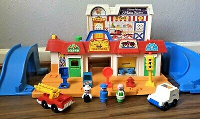 Vintage Fisher Price Little People #2500 Main Street Ramps