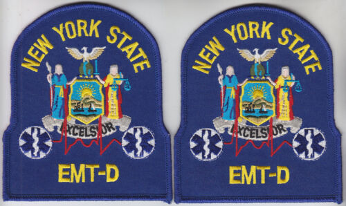 New York State EMT-D 2 patches/1 pair NY NYS Emergency Medical Technician-D