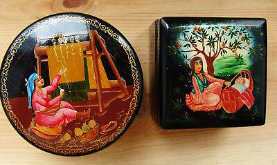 2x Lack Schatulle Miniaturmalerei Russland Ufa 1980